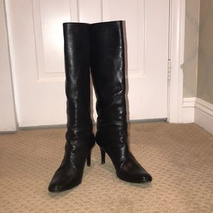 Leather Knee High Heels